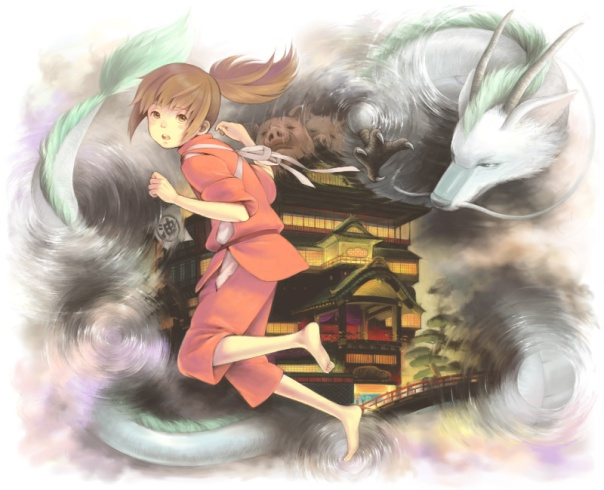 Chihiro and Haku's dragon form (Source: Pixiv, ID 23502801)