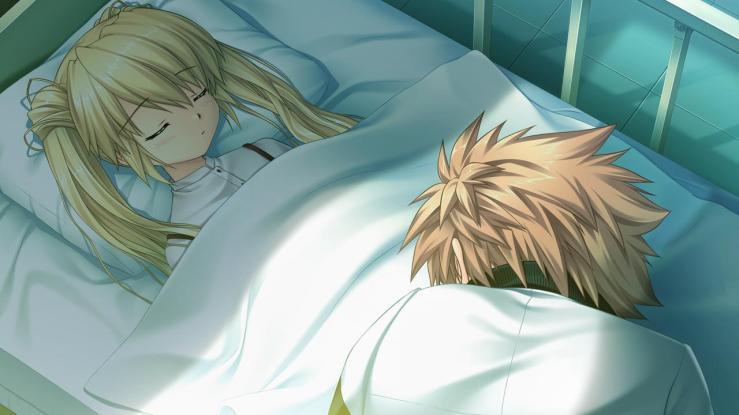 Kotarou lamenting Shizuru's coma.