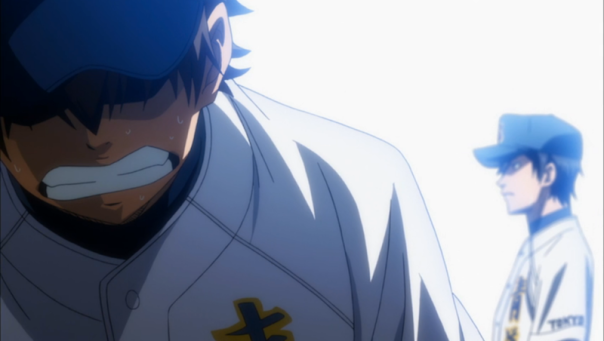 Sawamura leaves the mound, unable to pitch during the practice game (ep 70).
