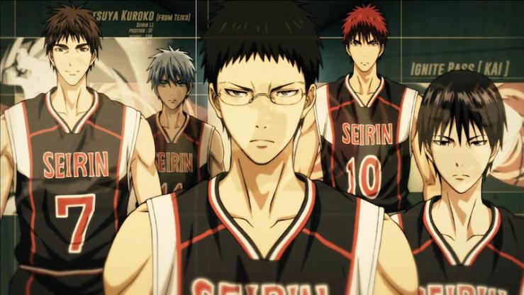 Seirin's starters: Kiyoshi, Kuroko, Hyuga, Kagami, and Izuko (screenshot from current OP).