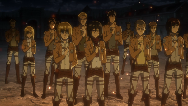 Attack on Titan is great for many reasons, but it's not for everyone. I try to remember that not everyone should watch the kind of violence in this show, so it's not something to recommend without qualifications. (Screenshot from ep 16)