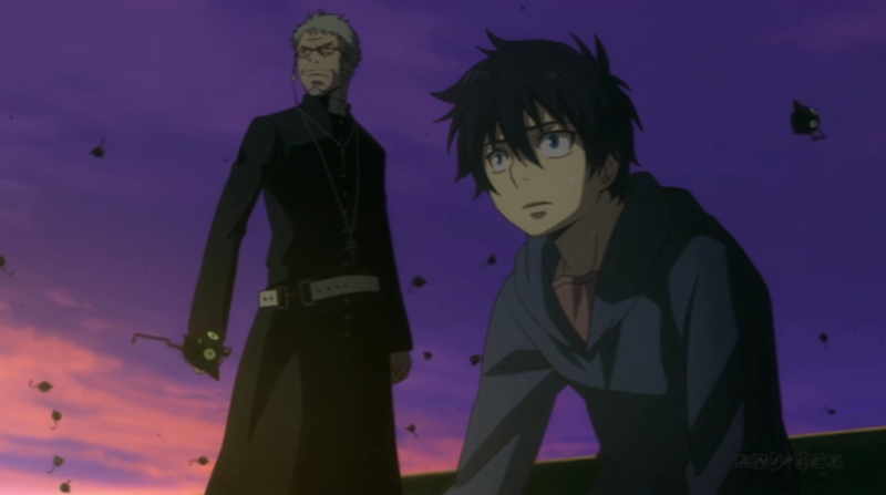 Rin and his adopted father, a priest. Rin, it turns out, is Satan's son. That's just one element of Blue Exorcist that could make some Christians uncomfortable—the way exorcism and religion is handled isn't always ideal, either. I don't think that makes it wrong for all Christians to watch, but discomfort is valid. (ep 2)
