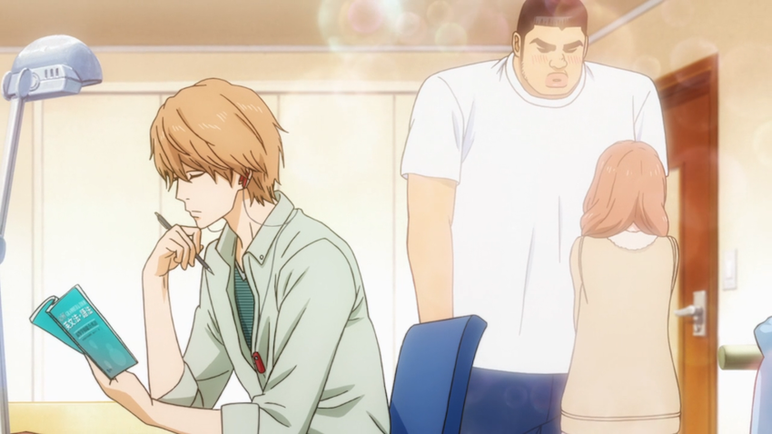 Suna returns to homework after helping Takeo and Yamato to get over their insecurities and confess to each other (ep 3).