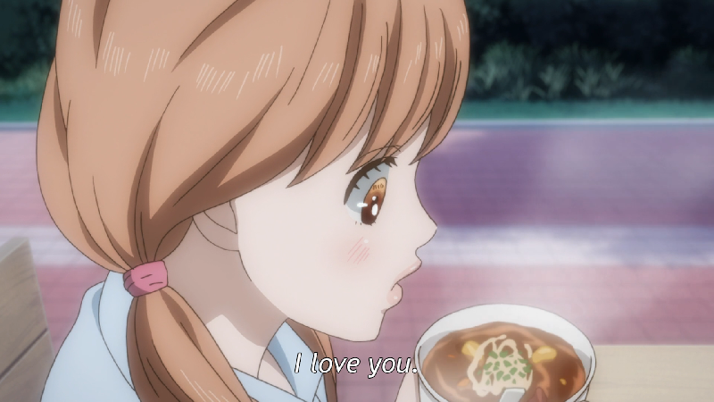 Yamato is sensitive to hot food, so she spends a lot of time blowing on her soup, even after everyone else is done eating theirs. (ep 16)