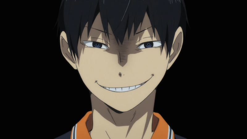 Kageyama tries to smile encouragingly at his teammates. He still has a ways to go. (S 1, ep 22).