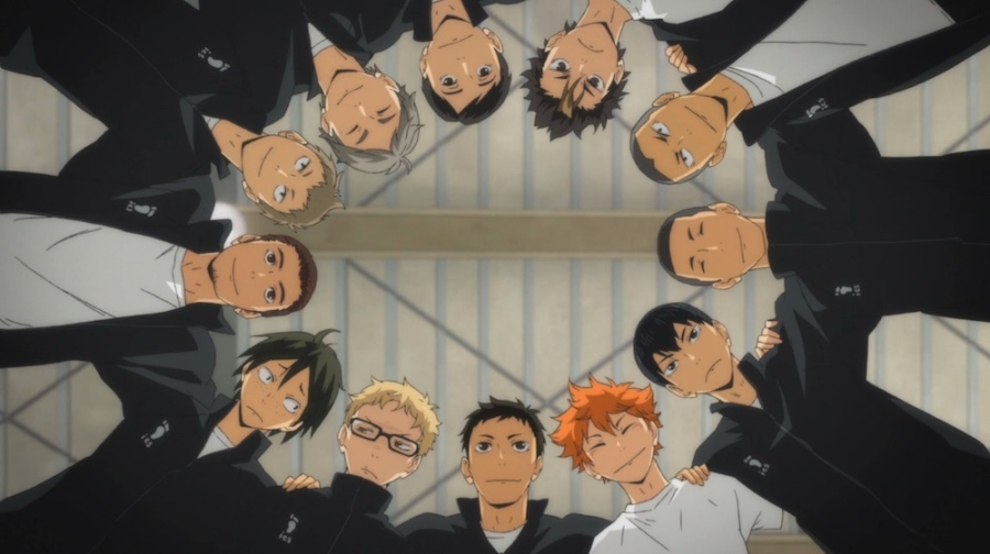 The main team from Haikyuu!! huddles up. (ep 10)